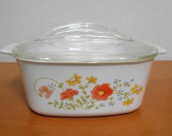 Vintage Corning Ware Casserole and Lid 1.5 Quart Wildflower Pattern