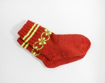 Knitted Wool Socks - Red, Yellow, Size Medium