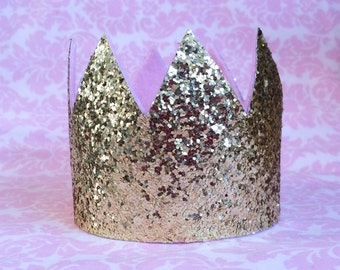 Gold glitter crown/ birthday crown/ photo prop