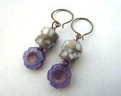 copper lampwork earrings