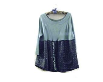 Sweater Shirt Mini Dress/ Funky Eco Dress/ Upcycled Babydoll Dress Medium Holly Hobby Womens Dresses M/L
