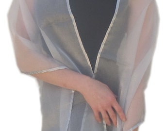 Sheer Crystal Organza Evening Wrap Shawl Stole Scarf for Prom Wedding Bride Choice of Color