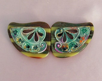 Vintage Art Deco buckle, 1930's celluloid and enameled metal buckle, large clasp style buckle