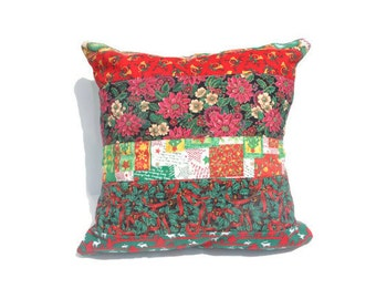 Christmas Throw pillow case, Holiday decor.  Holly and Pointsettian throw pillow, Christmas floral pillow, Christmas Pillow case