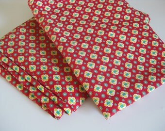Red Provencal fabric vintage French material with green and yellow pattern