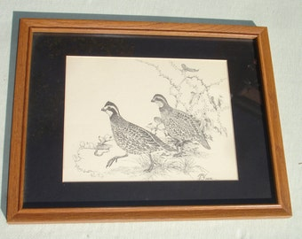 Pen & Ink Drawing of Quails in Wooden Frame - Signed Keese