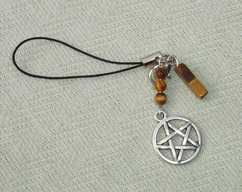 Wiccan Tigereye Gemstone Dangle Cell Phone Charm for Smart Phones. Mp3 Players, Etc.