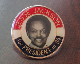 Campaign Pin Jesse Jackson for President in '84