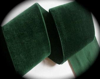 "Velvet Ribbon, 1"" x 5 yd - Deep Green, 100% Rayon -Made in France"