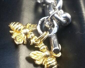 Heavy Silver Bee Bracelet for Small Wrist