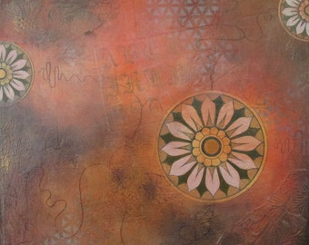 Flower mandala mixed media canvas Ornamental II