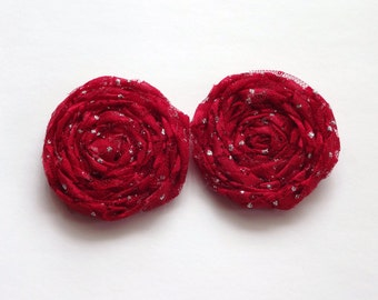 2 Red Lace Fabric Rosettes Embellishment
