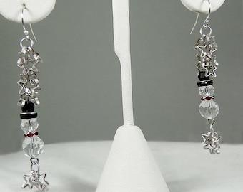 FALLING STARS on SNOWMAN - crystal & silver earrings