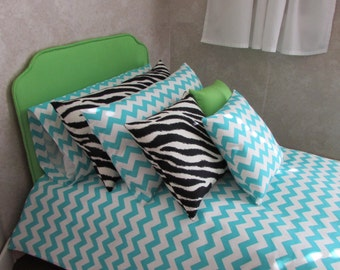 Doll Bed and Bedding for 23 inch dolls Turquoise Chevron Comforter Sheet Set Green Pillows Zebra Print Tufted Mattress Free US Shipping