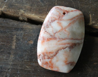 Azores Red Line Marble Stone Pendant (1) - Big and Bold - Necklace Focal Point 44mmx29mm - Pink Peach White - Perfect for Wire Wrapping