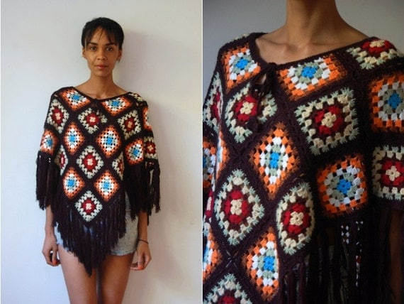 Vtg Colorful Retro Crochet Fringed Blanket Poncho