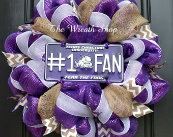 TCU Wreath with Frog Sign - Texas Christian University Mesh Wreath