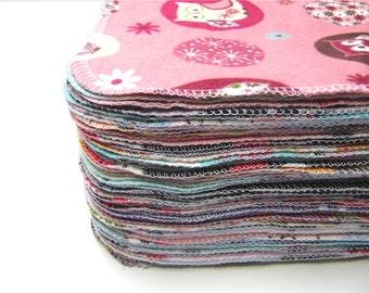 Cloth Wipes, 60 Girls Mixed Prints Set, Reusable Cloth Wipes