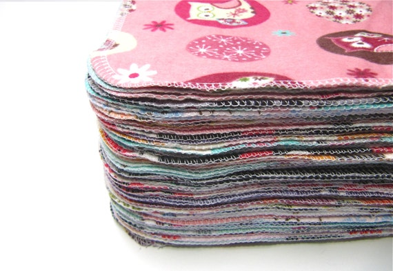 Cloth Wipes, 60 Girls Mixed Prints Set, Reusable Cloth Wipes