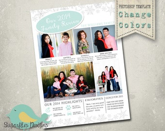 Christmas Card Template PHOTOSHOP TEMPLATE - Year in Review Newsletter