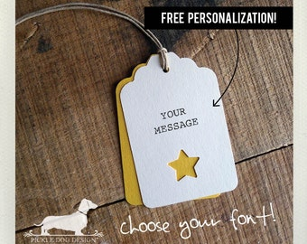 Ivory Star. Personalized Gift Tags (Set of 12) -- (Vintage-Style, Bridal Shower Tags, Wedding Favor Tag, Baby Shower, Free Personalization)