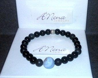 "Men's Bracelet Genuine:Jasper,Blue Lace & black agate, Silver-Plated Copper  ""I Am Able"" By ANena Jewelry Free Ship"