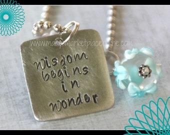 Wisdom Begins in Wonder - Hand Stamped, Teacher, School, Coach, Student, Gift Set, Inspiration, Teaching, Learn