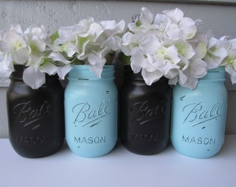 Painted and Distressed Ball Mason Jars- Black and Turquoise-Set of 4-Flower Vases, Rustic Wedding, Centerpieces