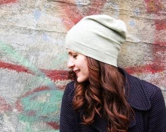 Merino hat in pistachio- beanie- women's hat, knit hat, present for her