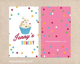 bakery DELUXE business cards - glossy or matte - color both sides - FREE design -  FREE shipping
