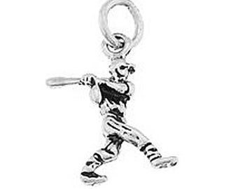 Sterling Silver Small Baseball Player Swinging Bat Charm (3d charm)