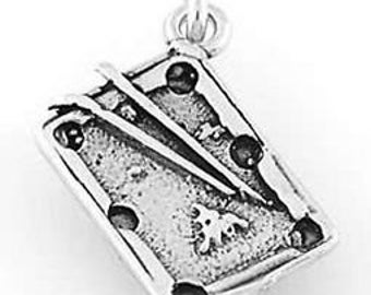 Sterling Silver Pool Table Charm Pendant (3D Charm)