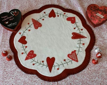 CANDLE MAT hand made with Wool Felt VALENTINE's Day
