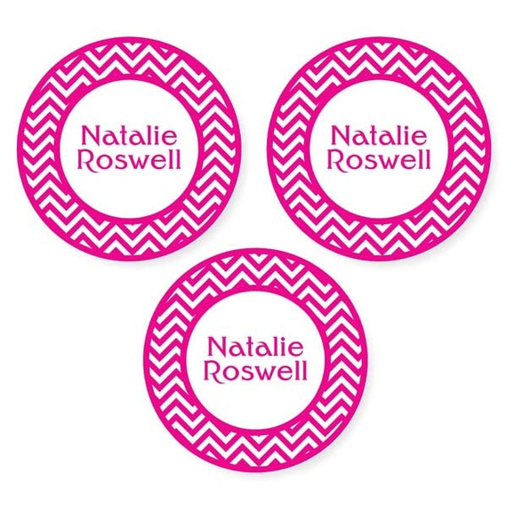 Iron On Labels (2 Sizes), Chevron (Pick Your Colors)