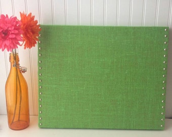 Lime Green Burlap Memo/Message Cork board 20x16 with Polished Nickel Nail Head Trim