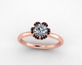 black diamond ring, rose gold black diamond ring, style 110RGBLM
