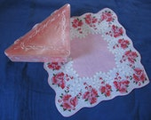 Vintage Handkerchief Box Pink Marbleized Hinged Plastic Lift Top Triangular Hankie Box with pretty coordinating Hankie