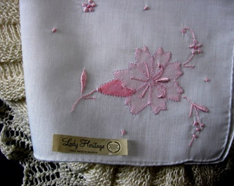 Vintage Madeira Handkerchief Pink Flower Appliques and Hand Embroidery Delicate Pretty and Unused with Made in Madeira label
