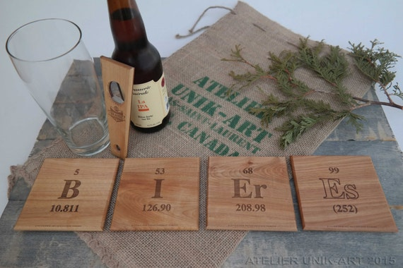 Salvaged wooden coasters - Periodic Table Chemical Elements coasters - Geek coasters - Beer coasters