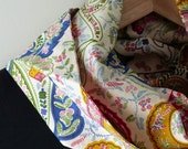 Paisley Circle Scarf, Colorful Handprinted Soft Cotton, 52 inches