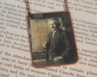 Einstein necklace mixed media jewelry Science jewelry Albert Einstein