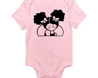 Afro T-shirt-Beautiful Afro Puff Baby Girl Onsie