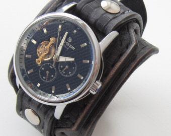 Black Steampunk Watch, Steampunk watch, Leather watch cuff, Gift for Him