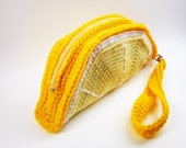 Lemon Slice Clutch Purse. Foodie Wrist Bag. Removable Strap. Zipper Closure. Citrus Zest Fruit. Weird Unusual Handbag Amigurumi Kawaii Food