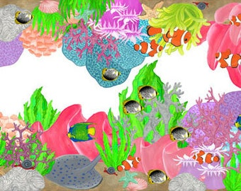 Colorful Coral Reef Mural Border