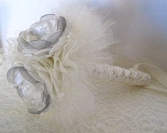 Three Flower Brides Small Ivory Satin with Grey Organza Brooch Bouquet Bridesmaid Flower Girl Toss Away with Ivory Lace and Tulle
