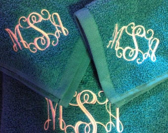 Monogrammed Towel, Hand Towel, and Washcloth Set
