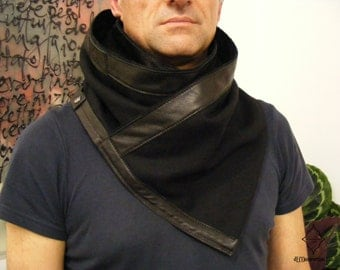 Wool and Leather Scarf . Winter scarf .Ready to ship. Unisex scarf. Black wool scarf. Woven scarf. Neckwarmer. Genuine leather.