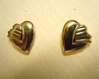 Winged Hearts Trifari Gold Earrings