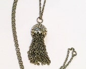 Silver Tassel Necklace 1960s Jewelry Vintage Jewelry, Gift for Her VALENTINE SALE